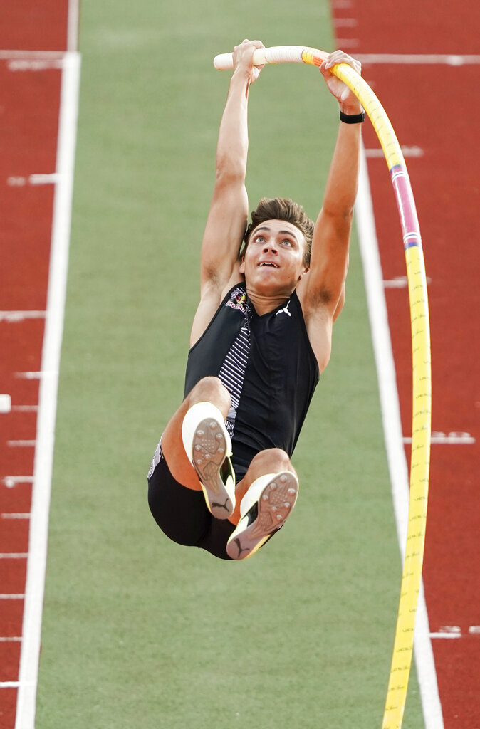 Armand Duplantis of Sweden competes in the pole vault event, during the Impossible Games 2020 in Bislett Stadium, Oslo, Thursday, June 11, 2020. (Cornelius Poppe/NTB scanpix via AP)