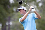Chesson Hadley hits off the eighth tee during the first round of the Palmetto Championship golf tournament in Ridgeland, S.C., Thursday, June 10, 2021. (AP Photo/Stephen B. Morton)