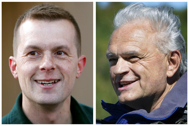 FILE - This photo combo shows incumbent U.S. Rep. Jared Golden, D-Maine, left, and Republican former state Rep. Dale Crafts, right, candidates in Maine's 2nd Congressional District in the Nov. 3, 2020, general election. (AP Photo/Robert F. Bukaty, File)