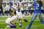 Buffalo Bills kicker Tyler Bass (2) kicks a 50-yard field goal during the first half of a preseason NFL football game against the Detroit Lions, Friday, Aug. 13, 2021, in Detroit. (AP Photo/Paul Sancya)