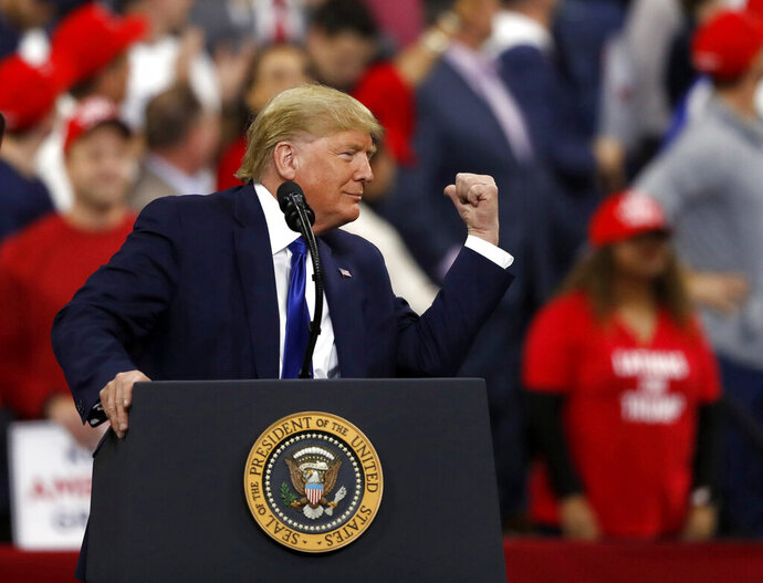 President Donald Trump speaks at a campaign rally Tuesday, Jan. 14, 2020, in Milwaukee. (AP Photo/Jeffrey Phelps)