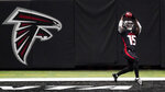 Atlanta Falcons wide receiver Brandon Powell (15) makes a touchdown catch against the Las Vegas Raiders during the second half of an NFL football game, Sunday, Nov. 29, 2020, in Atlanta. (AP Photo/John Bazemore)