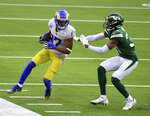 Wide receiver Robert Woods #17 of the Los Angeles Rams catches pass for yardage against the New York Jets in the first half of a NFL football game at SoFi Stadium in Inglewood on Sunday, December 20, 2020. (Keith Birmingham/The Orange County Register via AP)