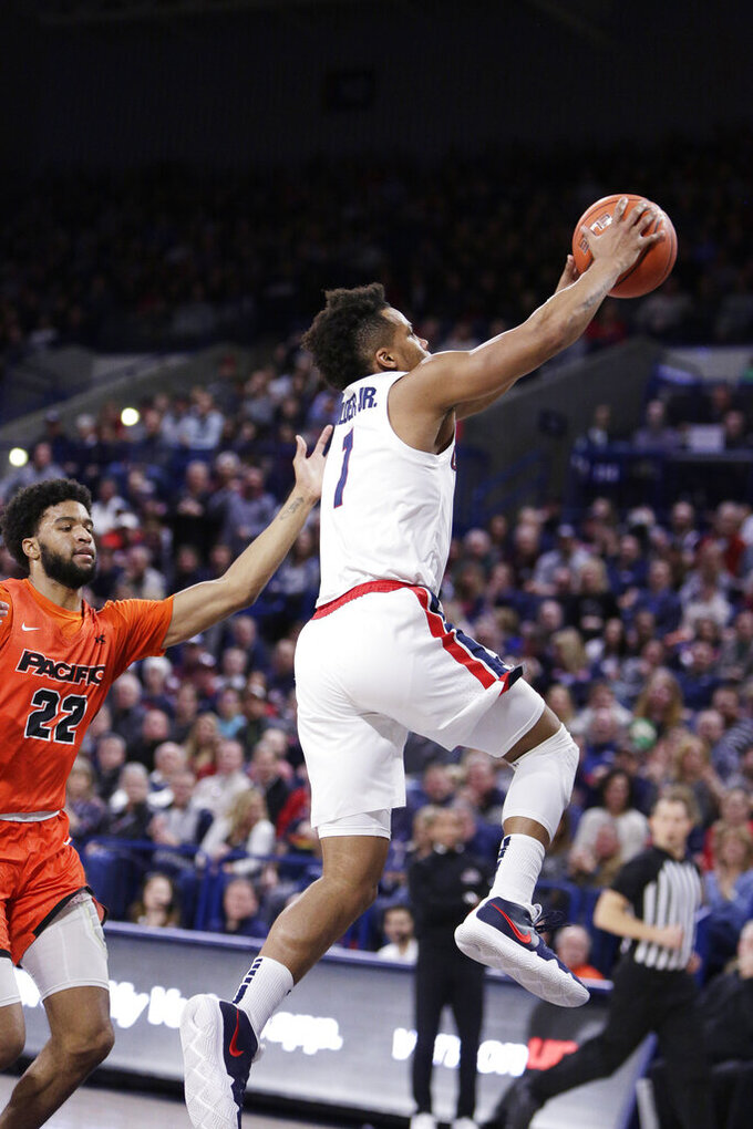 Gonzaga guard Admon Gilder (1) goes up for a dunk in front of Pacific guard Jahbril Price-Noel (22) during the first half of an NCAA college basketball game in Spokane, Wash., Saturday, Jan. 25, 2020. (AP Photo/Young Kwak)