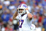 Buffalo Bills quarterback Josh Allen calls signals during the second half of an NFL football game against the Pittsburgh Steelers in Orchard Park, N.Y., Sunday, Sept. 12, 2021. (AP Photo/Joshua Bessex)
