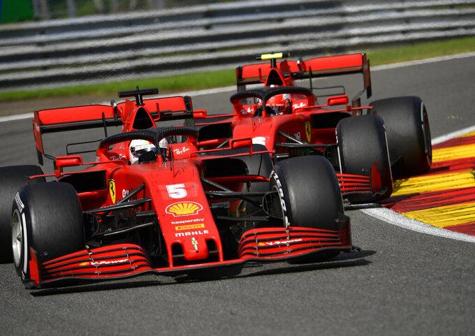 Ferrari driver Sebastian Vettel of Germany steers his car during the Formula One Grand Prix at the Spa-Francorchamps racetrack in Spa, Belgium, Sunday, Aug. 30, 2020. (John Thys, Pool via AP)