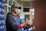 New York Giants head coach Joe Judge speaks to the media at NFL football training camp, Wednesday, July 28, 2021, in East Rutherford, N.J. (AP Photo/Corey Sipkin)