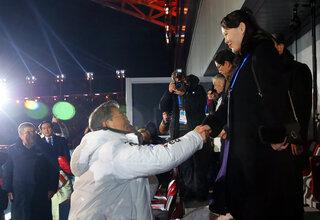 Moon Jae-in, left, Kim Yo Jong