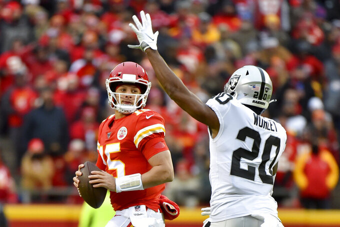 Kansas City Chiefs quarterback Patrick Mahomes (15) looks beyond Oakland Raiders cornerback Daryl Worley (20) during the first half of an NFL football game in Kansas City, Mo., Sunday, Dec. 1, 2019. (AP Photo/Ed Zurga)