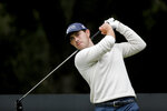Patrick Cantlay hits from the second tee during the final round of the Zozo Championship golf tournament Sunday, Oct. 25, 2020, in Thousand Oaks, Calif. (AP Photo/Ringo H.W. Chiu)