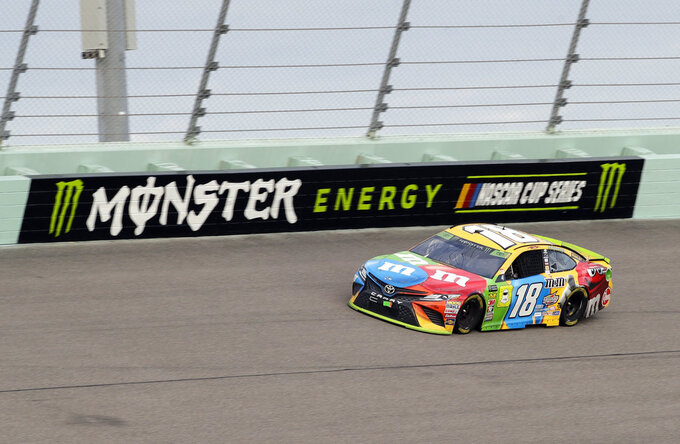 Kyle Busch (18) drives on the track during the NASCAR Cup Series Championship auto race at the Homestead-Miami Speedway, Sunday, Nov. 18, 2018, in Homestead, Fla. (AP Photo/Lynne Sladky)