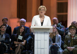 Former finance minister Ingrida Simonyte, a presidential candidate, speaks during a live, televised presidential debate at the S. Daukanto Square, in front of the Presidential Palace in Vilnius, Lithuania, Friday, May 24, 2019. Gitanas Nauseda and a former finance minister Ingrida Simonyte held the top two spots in returns from Lithuania's presidential election Sunday, May 26 and appeared headed to a runoff ballot later this month to choose a successor to incumbent Dalia Grybauskaite. (AP Photo/Mindaugas Kulbis)