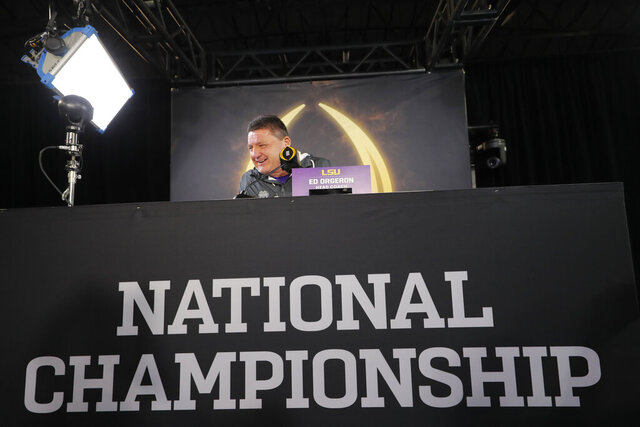 LSU head coach Ed Orgeron speaks during media day for NCAA College Football Playoff national championship game Saturday, Jan. 11, 2020, in New Orleans. Clemson is scheduled to play LSU on Monday. (AP Photo/Gerald Herbert).