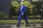 Brexit Secretary Stephen Barclay in Downing Street, London, Monday Oct. 21, 2019. With just 10 days to go until the U.K. is due to leave the European bloc, British Prime Minister Boris Johnson is expected to push for a vote on his Brexit deal, as Parliament geared up for a gruelling week. (Stefan Rousseau/PA via AP)