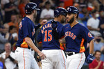 Houston Astros' Abraham Toro, right, celebrates his two-run home run with Chas McCormick during the fifth inning of a baseball game against the Texas Rangers, Sunday, July 25, 2021, in Houston. (AP Photo/Eric Christian Smith)
