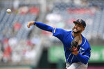 Kansas City Royals starting pitcher Jakob Junis delivers during the first inning of a baseball game against the Washington Nationals, Sunday, July 7, 2019, in Washington. (AP Photo/Nick Wass)