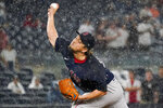 Boston Red Sox relief pitcher Hirokazu Sawamura delivers during the sixth inning of a baseball game against the New York Yankees, Saturday, July 17, 2021, in New York. (AP Photo/Mary Altaffer)