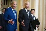 Senate Majority Leader Sen. Chuck Schumer of N.Y., walks with President Joe Biden as he arrives on Capitol Hill to meet with Senate Democrats, Wednesday, July 14, 2021, in Washington. (AP Photo/Evan Vucci)