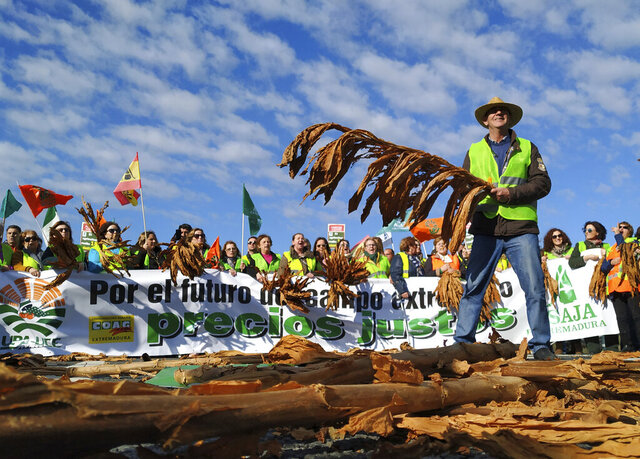 Farmers protest blocking the motorway near Navalmoral de la Mata in Caceres province, Spain, on Tuesday, February 18, 2020. Farmers in fluorescent yellow vests have begun blocking highways in southwestern Spain with tractors and other vehicles in the latest mass protest over what they say are plummeting incomes for agricultural workers. (AP Photo/Alicia Leon)
