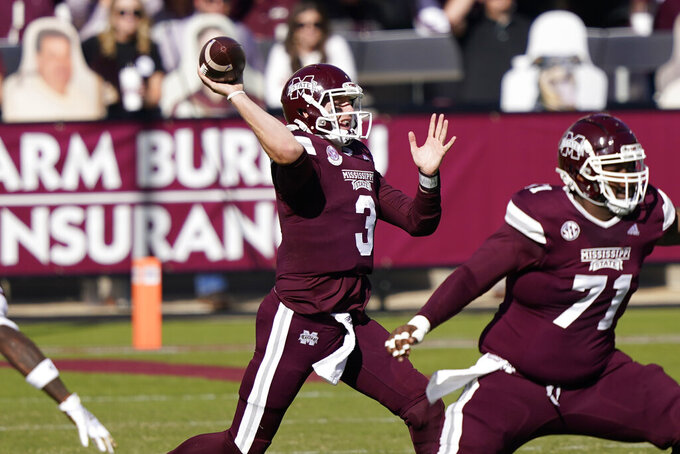 Mississippi State quarterback K.J. Costello (3) passes against Texas A&M during the first half of an NCAA college football game in Starkville, Miss., Saturday, Oct. 17, 2020. (AP Photo/Rogelio V. Solis)