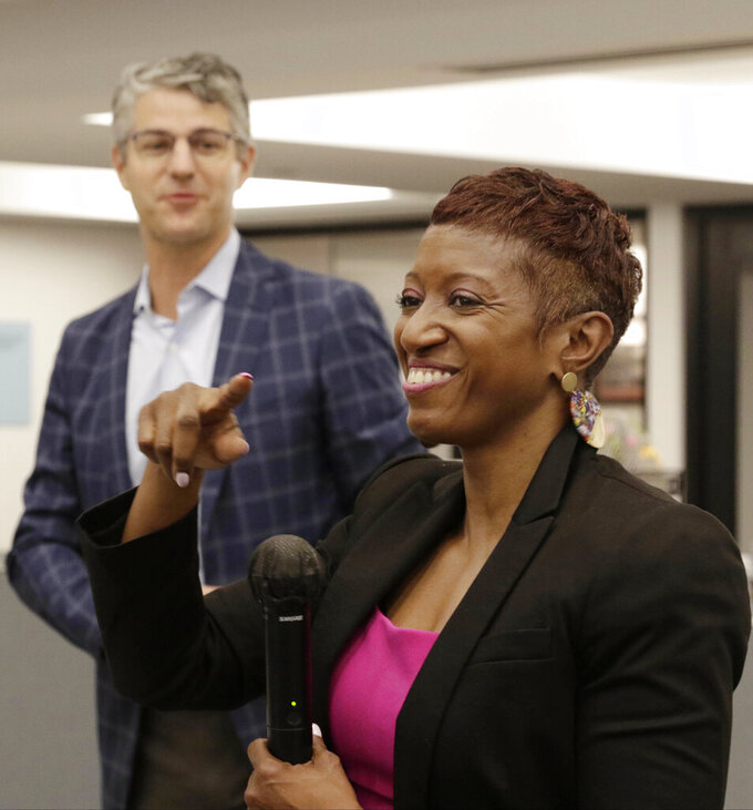 Veteran journalist Katrice Hardy, right, has been appointed executive editor of The Dallas Morning News, Wednesday, July 21, 2021, in Dallas, Texas. Hardy will take up her duties next month after serving for 16 months as editor of the Indianapolis Star, which won this year's Pulitzer Prize for national reporting. She also was Midwest editor for the USA Today Network. (Irwin Thompson/The Dallas Morning News via AP)
