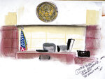This artist rendering shows the judge's bench in federal court in Orlando, Fla., on Monday, May 17, 2021, during a hearing for Joel Greenberg. Greenberg emerged as a central figure in the Justice Department's sex trafficking investigation into U.S. Rep. Matt Gaetz, R-Fla. (AP Photo/Steve Bridges)