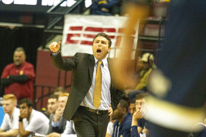 Georgia Tech head coach Josh Pastner shouts in the first half of an NCAA college basketball game against Florida State in Tallahassee, Fla., Tuesday, Dec. 31, 2019. (AP Photo/Mark Wallheiser)
