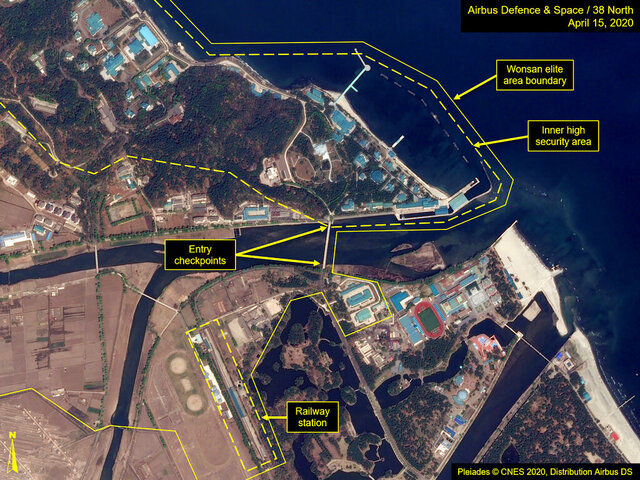 This Wednesday, April 15, 2020, satellite image provided by Airbus Defence & Space and annotated by 38 North, a website specializing in North Korea studies, shows overview of Wonsan complex in Wonsan, North Korea. Recent satellite photos show a train probably belonging to North Korean leader Kim Jong Un has been spotted on the country's east coast amid mounting speculation about his health. (Airbus Defence & Space and 38 North, Pleiades©CNES 2020, Distribution Airbus DS via AP)