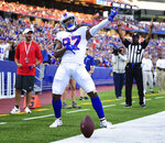 Buffalo Bills' Cam Phillips celebrates his touchdown during the first half of an NFL preseason football game, Thursday, Aug. 8, 2019, in Orchard Park, N.Y. (AP Photo/David Dermer)