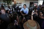 Democratic presidential candidate and former Texas congressman Beto O'Rourke speaks at a campaign stop at a coffee shop Sunday, March 24, 2019, in Las Vegas. (AP Photo/John Locher)
