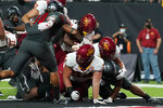 Iowa State running back Deon Silas (22) scores a touchdown against UNLV during the second half of an NCAA college football game Saturday, Sept. 18, 2021, in Las Vegas. (AP Photo/John Locher)