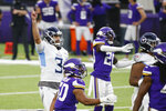 Tennessee Titans kicker Stephen Gostkowski (3) celebrates after kicking a 55-yard field goal during the second half of an NFL football game against the Minnesota Vikings, Sunday, Sept. 27, 2020, in Minneapolis. The Titans won 31-30. (AP Photo/Bruce Kluckhohn)