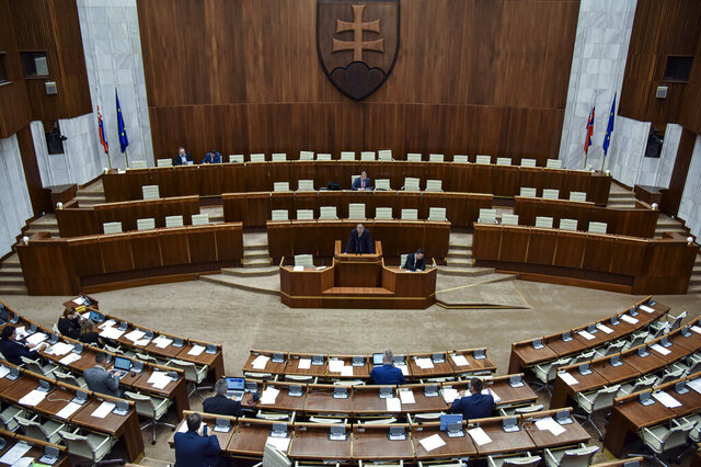 """A general view during a Parliamentary session in Bratislava, Slovakia, Friday, Nov. 29, 2019. Lawmakers in Slovakia are scheduled to debate a proposed law that would compel women seeking an abortion to first have an ultrasound and listen to the heartbeat of the embryo or fetus, a move many groups have decried as a backward step for women's rights. The bill was submitted by three members of the conservative Slovak National Party, who wrote that it is intended """"to ensure that women are informed about the current stage of their pregnancy"""" before having an abortion. (Pavol Zachar/TASR via AP)"""