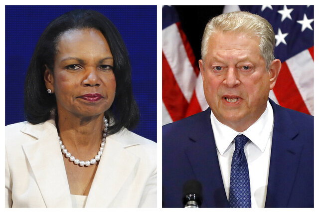 This combination of 2019 photos shows former U.S. Secretary of State Condoleezza Rice, left, in Abu Dhabi, United Arab Emirates, and former U.S. Vice President Al Gore in New York. On Tuesday, Jan. 12, 2021, officials say Rice and Gore are participating in a new initiative at Vanderbilt University focused on bridging the partisan divide in the U.S. (AP Photo/Kamran Jebreili, Richard Drew)