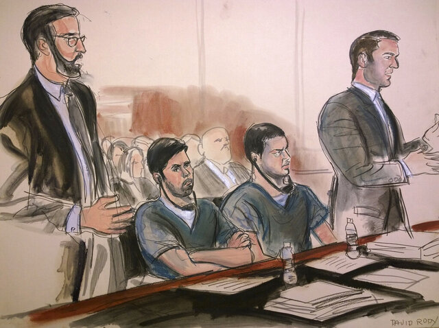 FILE - In this Dec. 14, 2017 court room art, defendants Efrain Campo, center left, and Francisco Flores, center right, nephews of Venezuela's first lady Cilia Flores, listen to proceedings during their sentencing hearing at federal court in New York. Flores and his cousin, Campo, were found guilty in 2016 in a highly charged case that cast a hard look at U.S. accusations of drug trafficking at the highest levels of embattled President Nicolas Maduro's socialist administration. In a petition posted Tuesday, Aug. 25, 2020, on the Supreme Court's docket, attorneys for Flores argued that jury was misled when they were told by a Manhattan federal judge that the men should've known the cocaine was bound for the U.S., a requirement for conviction under U.S. law. (Elizabeth Williams via AP File)