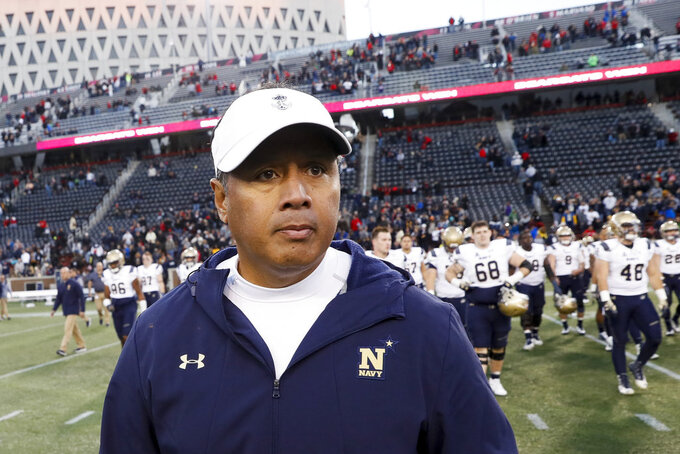 Navy head coach Ken Niumatalolo reacts on the field after an NCAA college football game against Cincinnati, Saturday, Nov. 3, 2018, in Cincinnati. (AP Photo/John Minchillo)