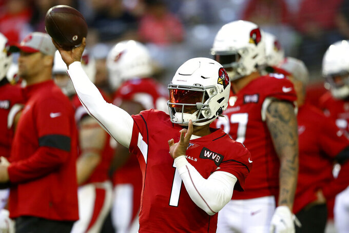 Arizona Cardinals quarterback Kyler Murray (1) warms up prior to an NFL football game against the Cleveland Browns, Sunday, Dec. 15, 2019, in Glendale, Ariz. (AP Photo/Ross D. Franklin)