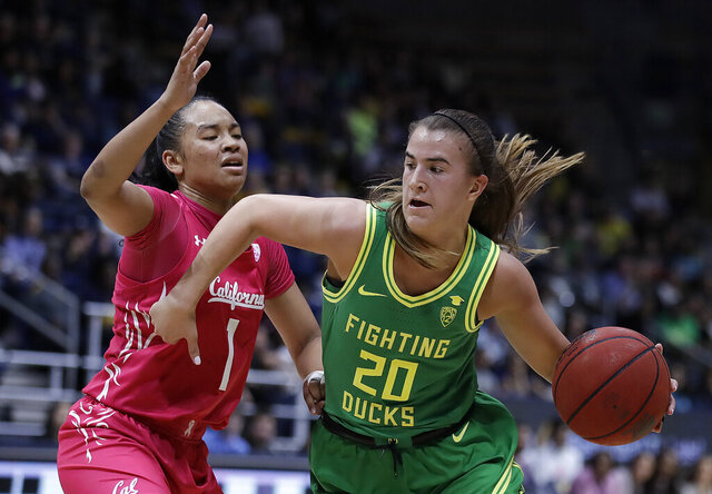 Oregon's Sabrina Ionescu, right, drives as California's Leilani McIntosh (1) defends during the second half of an NCAA college basketball game Friday, Feb. 21, 2020, in Berkeley, Calif. (AP Photo/Ben Margot)