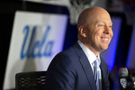 FILE - In this Oct. 8, 2019, file photo, UCLA coach Mick Cronin speaks during the Pac-12 NCAA college basketball media day in San Francisco. Cronin takes over the Bruins after a consistently solid run at Cincinnati. (AP Photo/D. Ross Cameron, File)