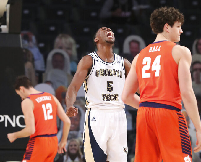 Georgia Tech forward Moses Wright reacts to scoring a 3-pointer against Clemson during an NCAA college basketball game Wednesday, Jan. 20, 2021, in Atlanta. (Curtis Compton/Atlanta Journal Constitution via AP, Pool)