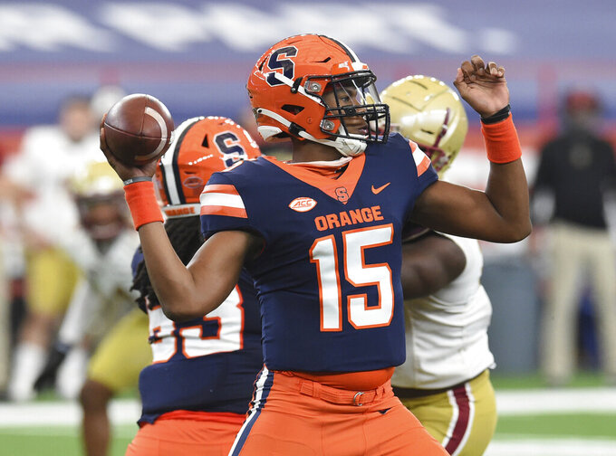 Syracuse quarterback JaCobian Morgan (15) throws against Boston College during the first half of NCAA college football game, Saturday, Nov. 7, 2020, at the Carrier Dome in Syracuse, N.Y. (Dennis Nett/The Post-Standard via AP)