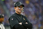 Minnesota Vikings head coach Mike Zimmer watches from the sideline during the first half of an NFL football game against the Detroit Lions, Sunday, Dec. 8, 2019, in Minneapolis. (AP Photo/Bruce Kluckhohn)