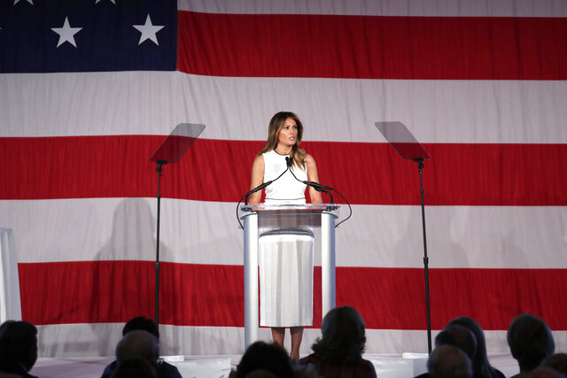 "First lady Melania Trump speaks at the Women of Distinction Luncheon hosted by Palm Beach Atlantic University, Wednesday, Feb. 19, 2020, in Palm Beach, Fla. The university presented Trump with its ""Women of Distinction"" award. (AP Photo/Lynne Sladky)"