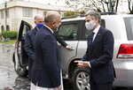 U.S. Secretary of State Antony Blinken, right, talks with Afghanistan's Foreign Minister Mohammad Haneef Atmar, outside the presidential palace in Kabul, Afghanistan, Thursday, April 51, 2021. Blinken made an unannounced visit to Afghanistan on Thursday to sell Afghan leaders and a wary public on President Joe Biden's decision to withdraw all American troops from the country and end America's longest-running war. (Afghan Presidential Palace via AP)