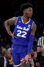 Seton Hall guard Myles Cale (22) gestures after scoring a basket against Villanova during the first half of an NCAA college basketball game in the championship of the Big East Conference tournament, Saturday, March 16, 2019, in New York. (AP Photo/Julio Cortez)