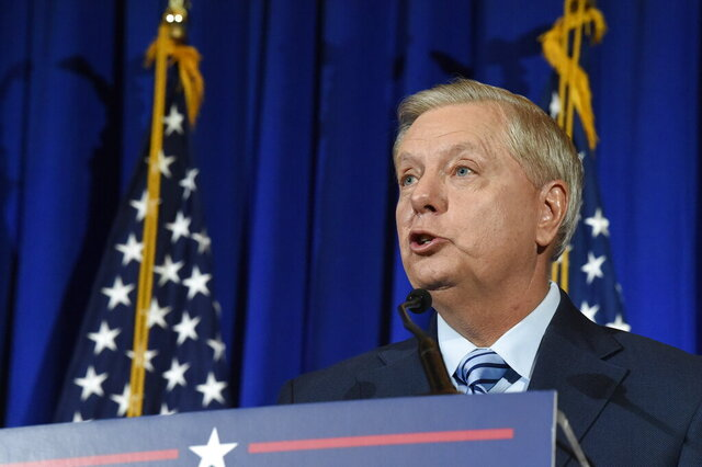 U.S. Sen. Lindsey Graham of South Carolina makes his victory speech after winning another term in office on Tuesday, Nov. 3, 2020, in Columbia, S.C. (AP Photo/Meg Kinnard)