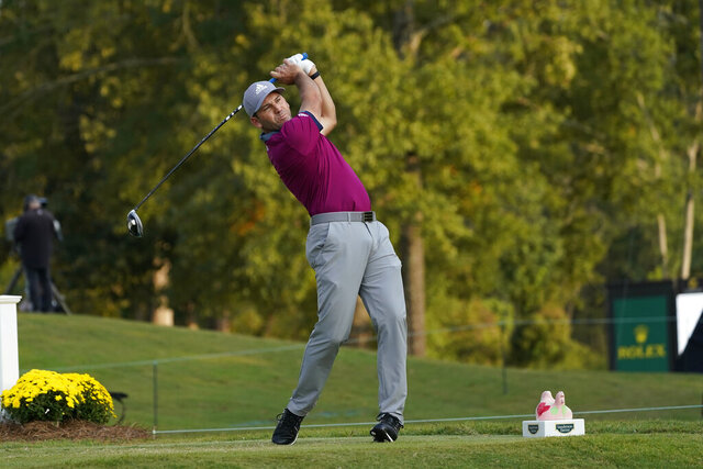 Sergio Garcia, of Spain, watches his drive from the 18th tee during the third round of the Sanderson Farms Championship golf tournament in Jackson, Miss., Saturday, Oct. 3, 2020. (AP Photo/Rogelio V. Solis)