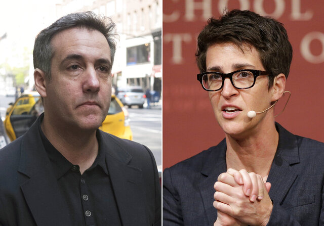 In this combination photo, Michael Cohen, left, walks down Madison Avenue on May 4, 2019, in New York and MSNBC television anchor and host of
