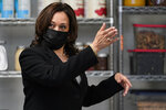 Vice President Kamala Harris speaks about investing in small businesses using community banking at Red Door Catering in Oakland, Calif., Monday, April 5, 2021. (AP Photo/Jacquelyn Martin)