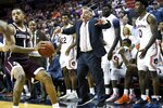 Auburn head coach Bruce Pearl reacts on the sidelines during the second half of an NCAA college basketball game against Texas A&M Wednesday, March 4, 2020, in Auburn, Ala. (AP Photo/Julie Bennett)
